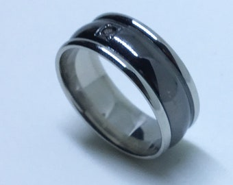7 . 8 mm Brand New White Gold Plated with Bulgy Black Center and Single Gem on Stainless Steel ring band