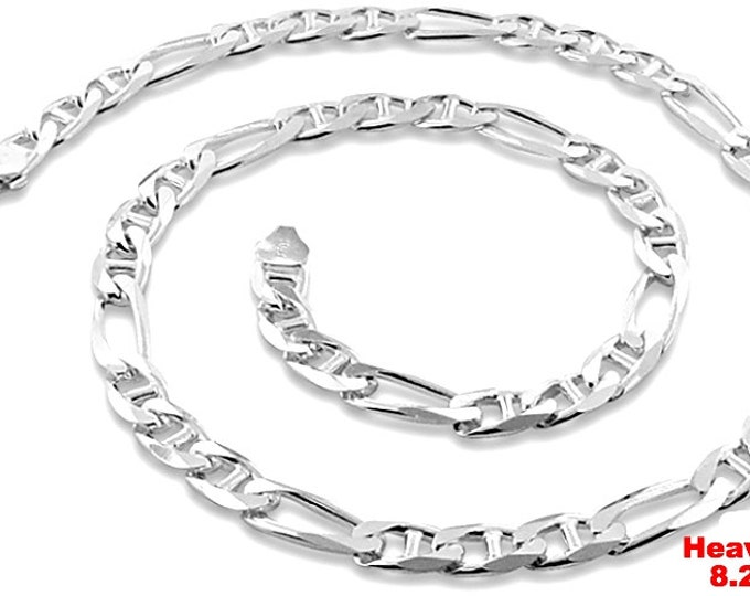 Italy Solid Heavy Figaro Marina .925 Anti-Tarnish Silver Chain - 8.2mm 24""