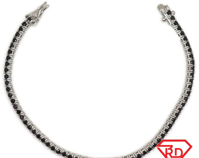 New White Gold Layered Tennis Bracelet four prong basket round black CZ