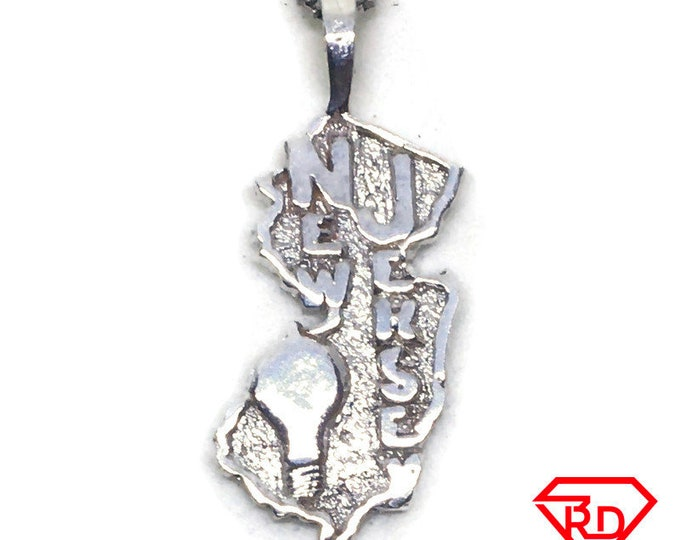New Jersey State charm pendant 925 Sterling Silver