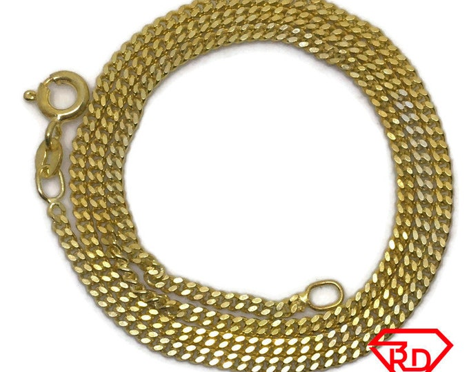 Thin Curb link Chain 16 inch Necklace 999 Yellow Gold Layer