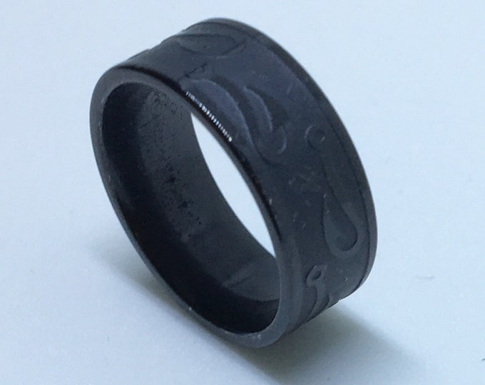 7 . 9 mm Brand New Gothic Black Plated with Fisherman Hook on Stainless Steel ring band