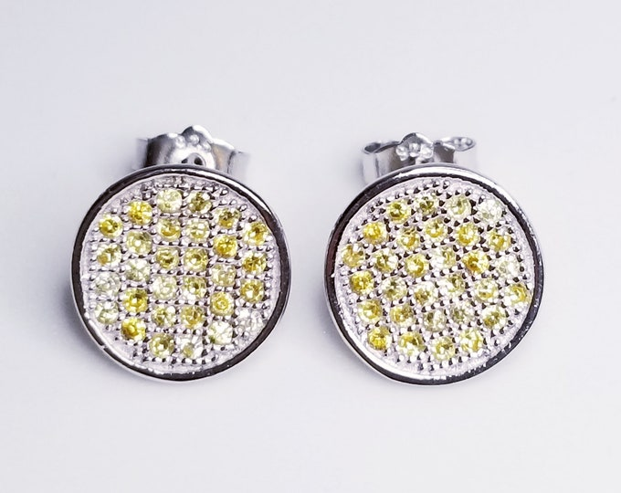 NEW 14K White Gold on 925 Cute Round Yellow Stones Earrings