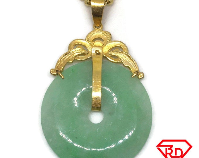 Large Round Halo green Jade Pendant Charm 24K Yellow gold Plated
