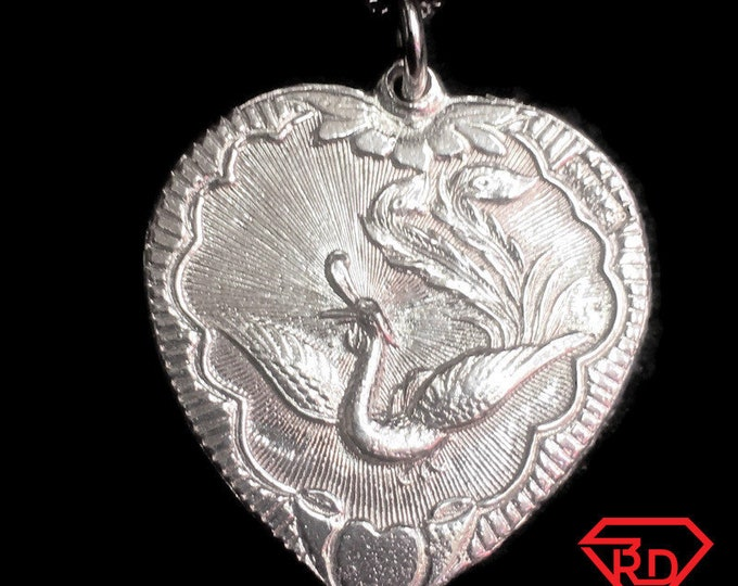 New Handcrafted 925 Silver Chinese Double Happiness for Wedding Phoenix & Dragon Heart Charm Pendant Reversible Design