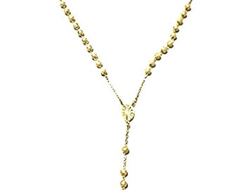 """Heavy Catholic 14k Yellow Gold Layer .925 Silver Rosary Beads Necklace Crucifix 5 mm 28"""""""