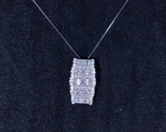 New 14k White Gold On 925 Sterling Silver Shiny Long Square CZ Stones Pendant Free Chain