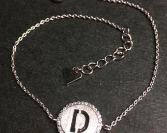 """14k layer on solid .925 silver letter """"d"""" cz handset cable link bracelet : 7-8"""""""
