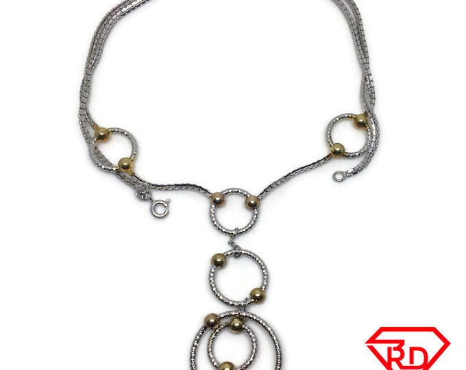 Circle loops Box chain Necklace 14k multi Gold Plated