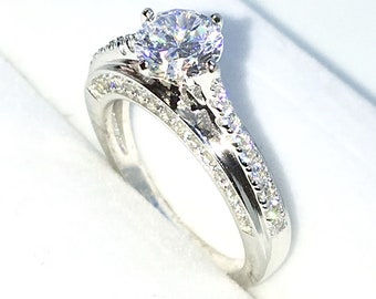 New Handcraft White Gold Plated on Sterling Silver engagement ring band with 4 prong white round CZ unique design