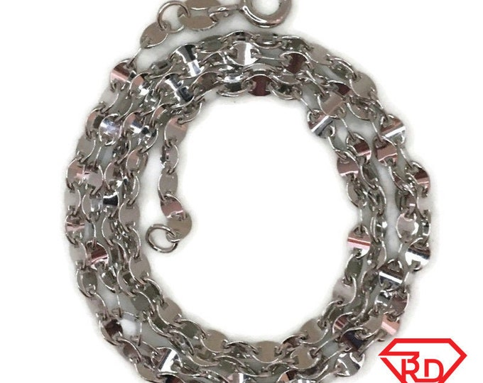 White gold layer on silver necklace small flat unique chain 16 inch