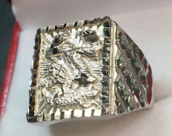New handmade big wide heavy asian chinese diamond cut design dragon ring band s8