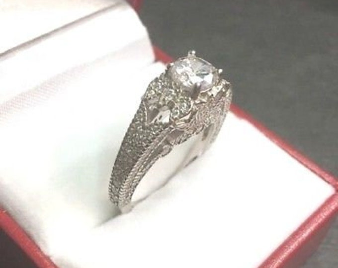 New vintage antique high set zirconia crystal  engagement wedding ring band s-7