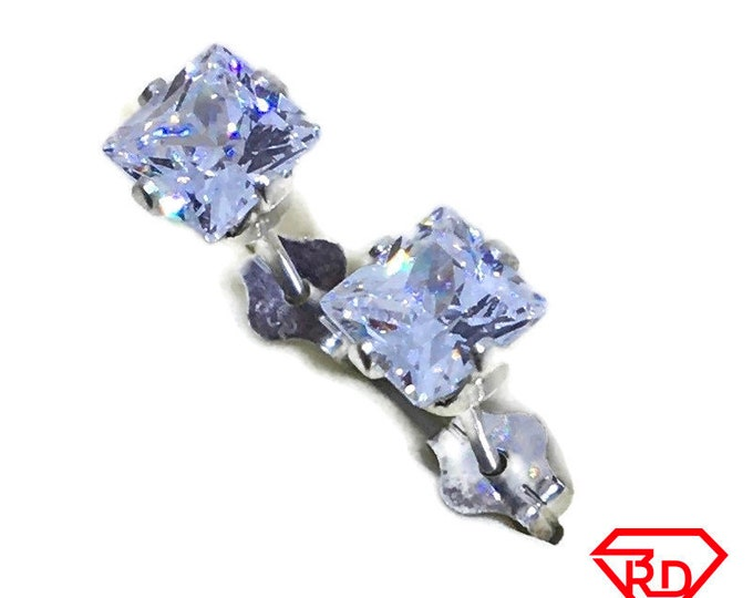 White princess CZ large Stud Earrings 925 silver