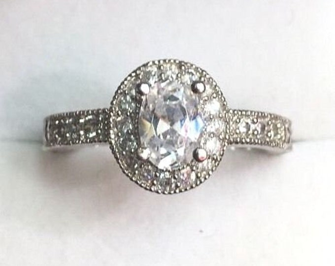 Brand new oval halo cubic zirconia handmade engagement bling wedding ring size-6