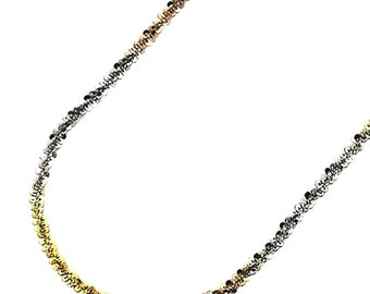 18k white yellow and rose gold layered on .925 Sterling Silver Rock Chain- 1.5 mm 18 ""
