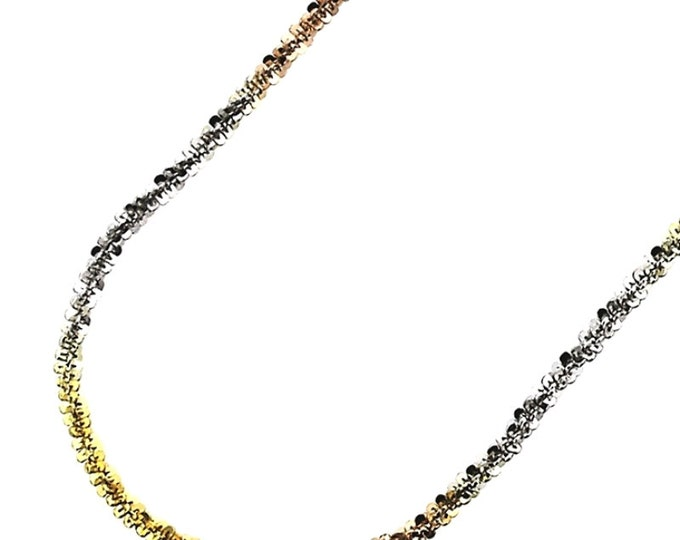 """18k white yellow and rose gold layered on .925 Sterling Silver Rock Chain- 1.5 mm 18 """""""