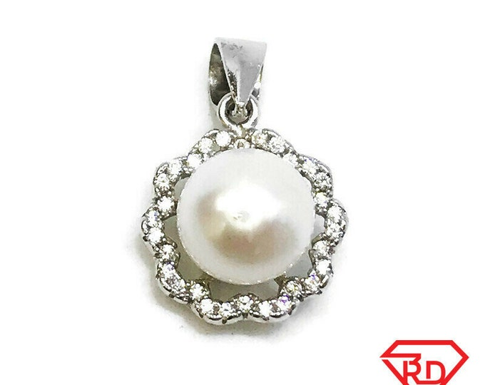 NEW 14K White Gold Layered on Sterling Silver Floral with Pearl and Stones Pendant