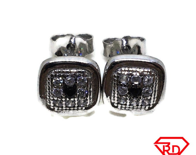 Small Square black & White CZ stud Earrings white gold layer