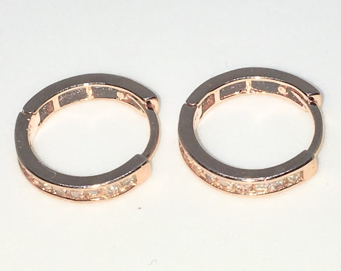 New 14k Pink Gold on 925 Sterling Silver One sided White Square CZ Hoop Earrings ( 2 . 6  mm )