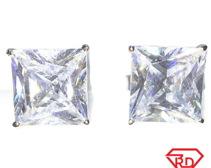 Brand New White Gold on 925 Solid Sterling Silver Four Prong Basket white Princess Square Extra Large CZ studs Earrings ( 10 . 6  mm )
