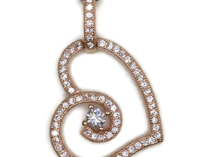 Rose gold on silver pendant curly heary with round white cz