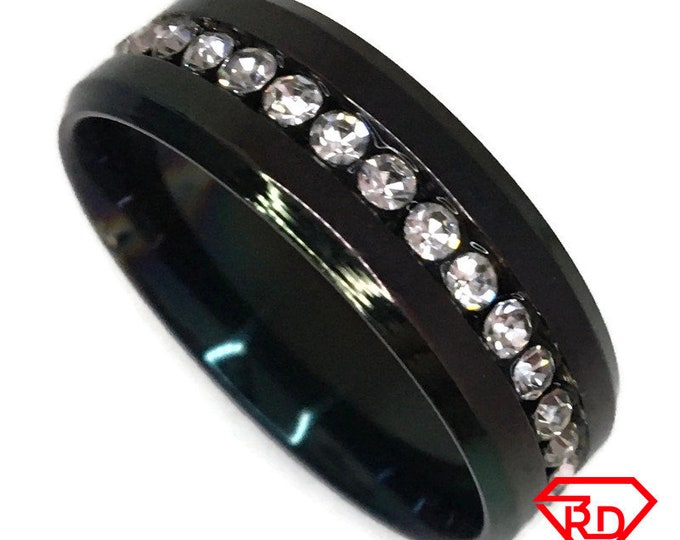 White Cubic Zirconia Ring black gold on Steel (size 12)