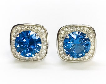 NEW .925 Sterling Silver Square with blue Stones Stud Earrings