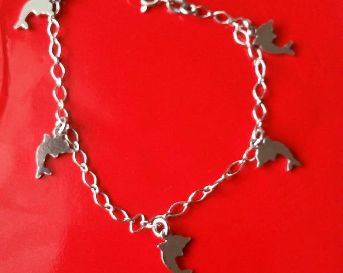 18k white gold layer on 925 Sterling Silver dangling Dolphin charms bracelet