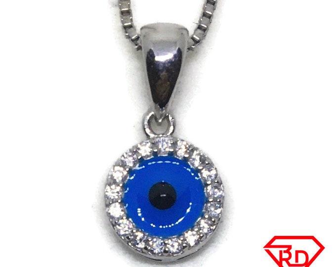 Round Evil Eye CZ white gold on silver pendant