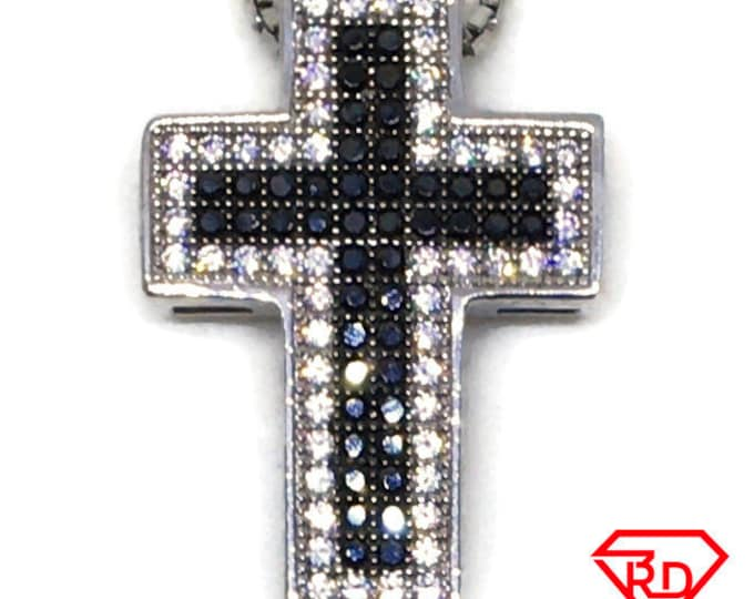 Black and White Cubic Zirconia Cross pendant white Gold on silver