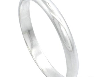 Italy 14k white gold layered on.925 silver high polished wedding band ring 2.9mm Size 10