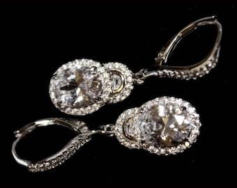 14k white gold on 925 silver dangling earring