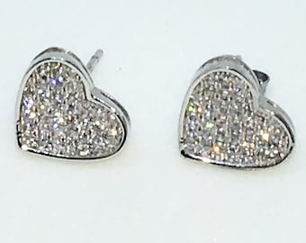 14k White Gold Layered Heart shaped CZ on 925 Solid Sterling Silver Stud Earrings ( 11 . 1 mm )