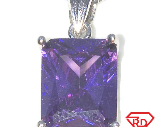 New White Gold on 925 Sterling Silver Pendant Rectangle Birthstone with Emerald cut Purple CZ and Silver 16 Inch Chain ( 9 . 5 mm )