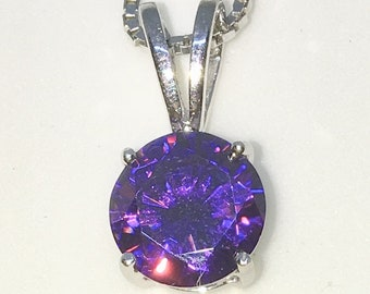 New White Gold on 925 Sterling Silver Pendant Small Four Prong Basket Birthstone with round Purple CZ and Silver 16 Inch Chain ( 7 . 8 mm )