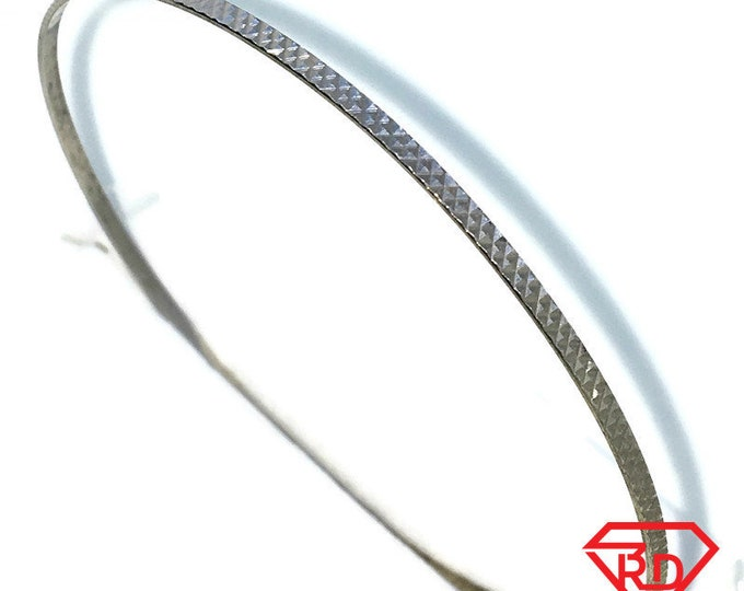 New White Gold Layered on 925 Solid Sterling Silver Bangle Bracelets plain full small diamond cut circle slip in