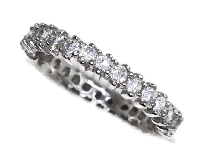 Eternity ring Cubic Zirconia thin white gold on Silver ( size 7 )