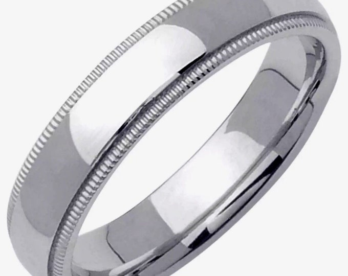Handcrafted solid 925 Silver Rhodium plain wedding Ring Band 4mm Size6