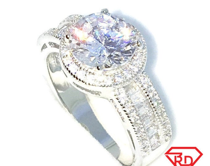 New Handcraft White Gold Plated on Sterling Silver engagement ring band