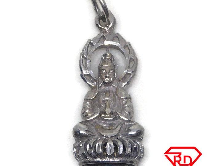 Hollow Quan Yin Goddess 14k white gold pendant