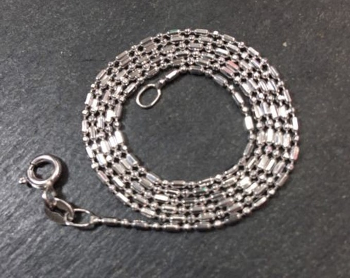 """New small tiny 14k white gold layer on silver italian beads bar chain 1.0mm-18"""""""