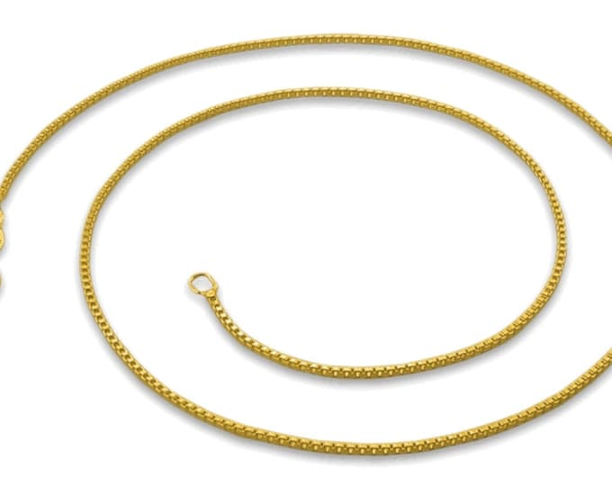 """Italian 14k yellow gold layered over .925 sterling silver - 1 mm box chain -20 """""""