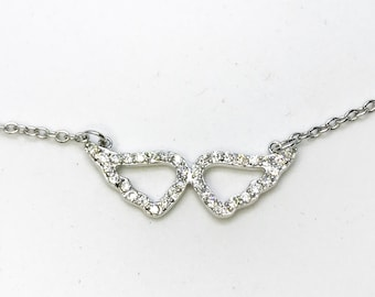 NEW 14K White Gold Layered on .925 Sterling Silver Cz Angel Wings Necklace - 18""