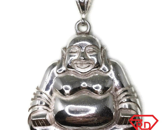 Fat Budha pendant extra large smooth solid silver