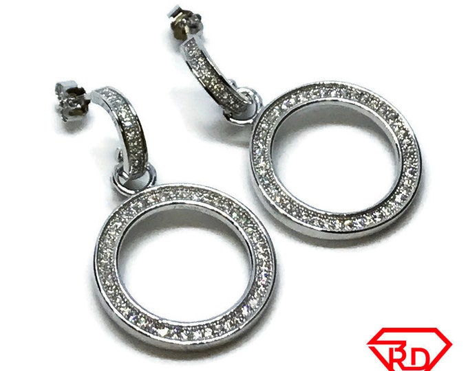 14K White Gold on Sterling Silver Circle Unique Dangling Earrings