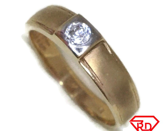 Belt style white CZ ring band 14K Real Yellow gold S7