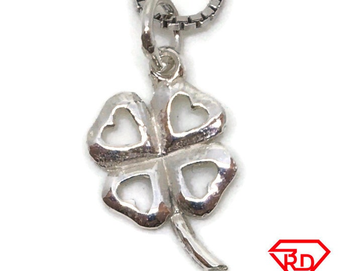 Four Leaf clover tiny charm pendant 925 Solid Silver