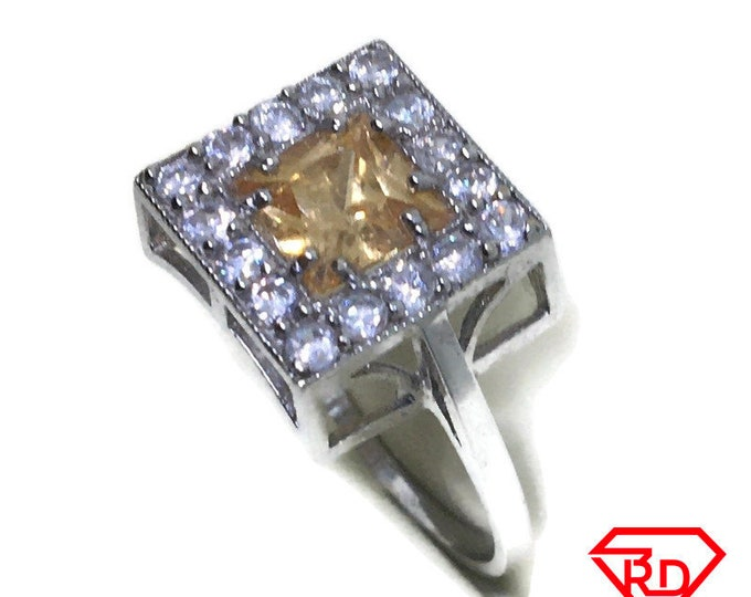 Square Green CZ ring band 14K Real White gold S8
