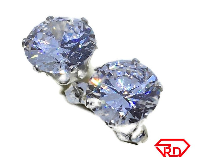 White round CZ extra extra large Stud Earrings 925 silver